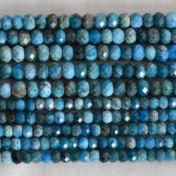 High Quality Grade A Natural Apatite Semi-Precious Gemstone Faceted Rondelle / Spacer Beads - 3mm, 4mm, 6mm, 8mm sizes