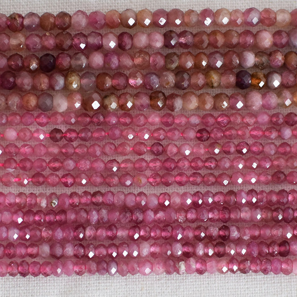 High Quality Grade A Natural Pink Tourmaline Semi-Precious Gemstone Faceted Rondelle / Spacer Beads - 3mm, 4mm sizes