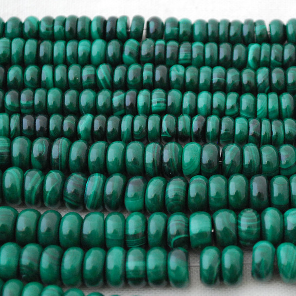 High Quality Grade A Natural Malachite (green) Semi-Precious Gemstone Rondelle / Spacer Beads - 6mm, 8mm sizes