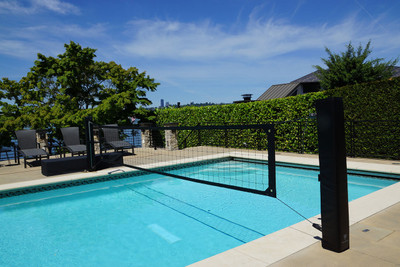 Steel Pool Volleyball Poles - Shown with optional protective pole pads