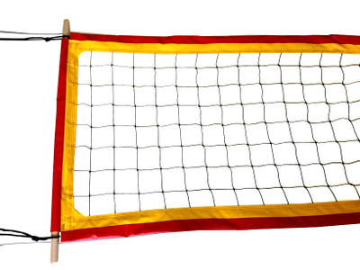 """Two-Tone-PBN4: 4"""" Professional Volleyball Net Sewn in Two Colors"""
