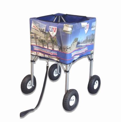 VolleyballUSA.com Deep Basket Sand / Grass Collapsible Ball Carts - Shown with optional custom printing
