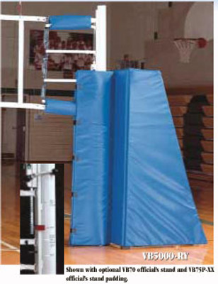 VB-5100 Steel Multi-Sport Volleyball System - Shown with optional VB72 official's stand and VB77P official's stand padding.