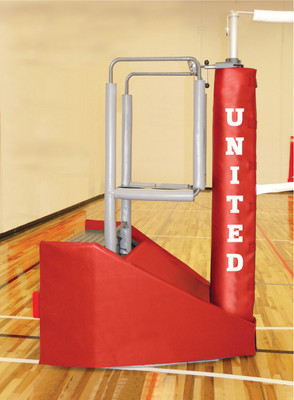VB-ADAPT: Adaptible Freestanding Volleyball System - Side shown with optional fold-up referee stand.