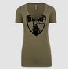 Womens BAMF logo Vneck (OD Green/Black)