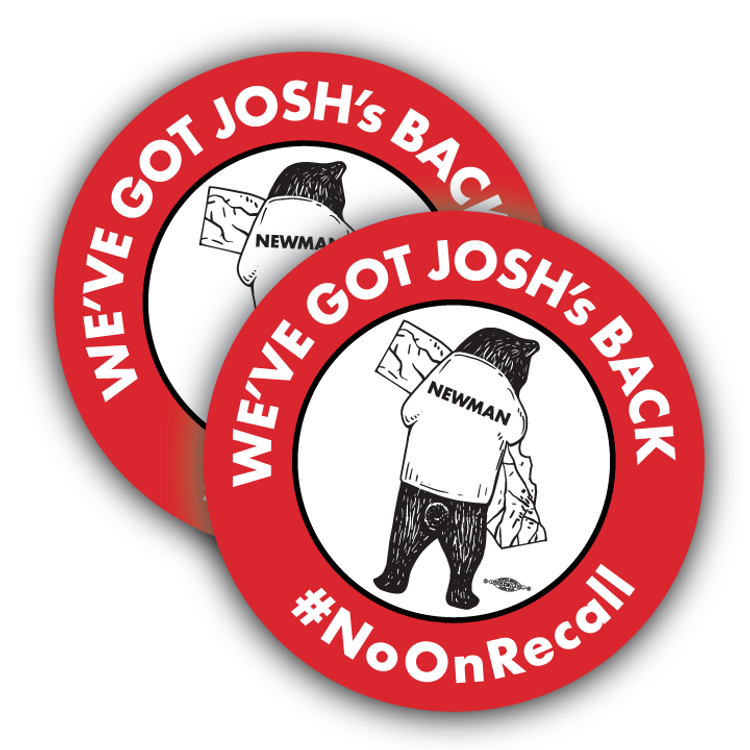 "No On Recall (3.5"" x 3.5"" Vinyl Sticker -- Pack of Two!)"