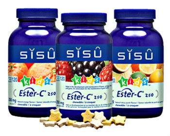 SISU Ester-C® Chewable 250mg Natural Orange KIDS, 120 Star Tablets