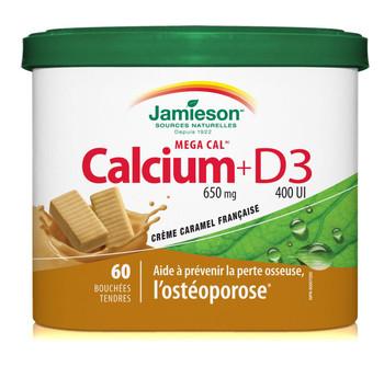 Jamieson Calcium + D3, Softchews Caramel
