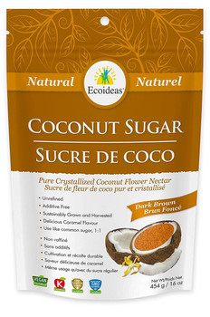 Ecoideas Coconut Sugar Dark Brown, 454 g