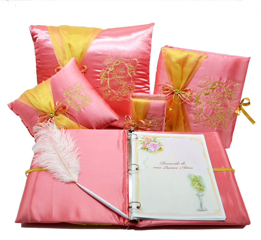 Rose Design Quinceanera Accessories Pillows, Photo Album, Guest Book and Bible #QSET70QM