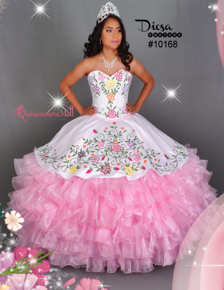 Multi Color Flowers Quinceanera Dress #10168QM - Quinceanera Mall