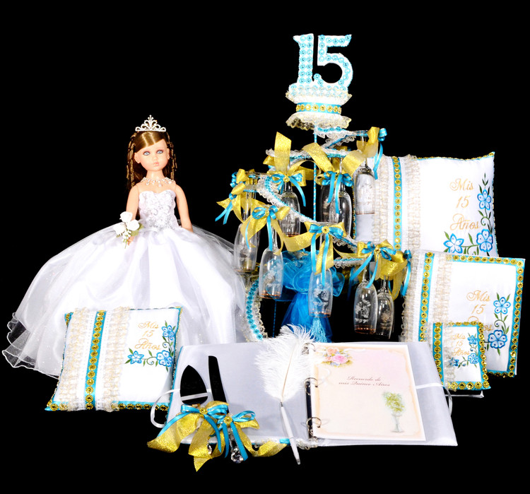 Quinceanera Package Toasting Set, Doll, Pillows, Guest Book, Album, and Cake Server #QSP142