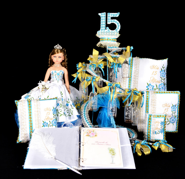 Charra Quinceanera Package Toasting Set, Doll, Pillows, Guest Book, Album, and Cake Server #QSP148