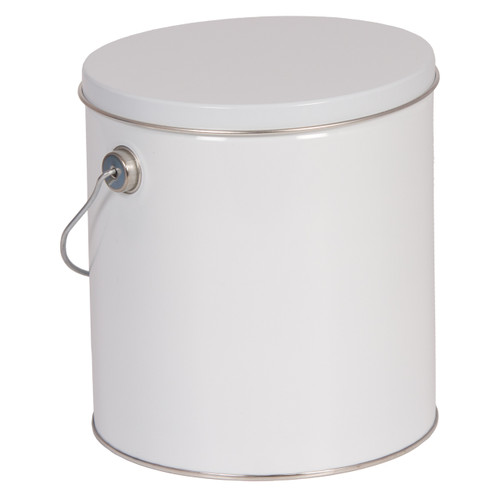 5s & 8s Tall Round White Tin Container