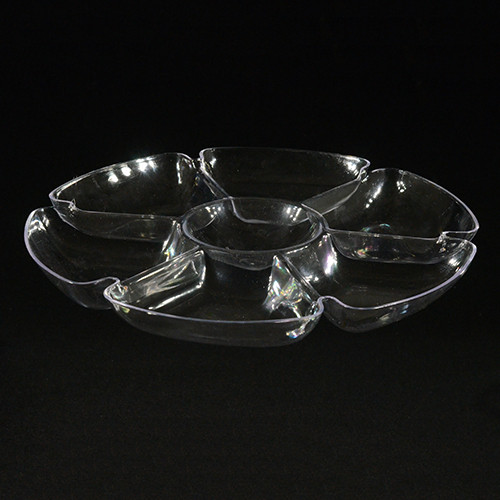 "16"" Round 7 Section Clear Plastic Tray"