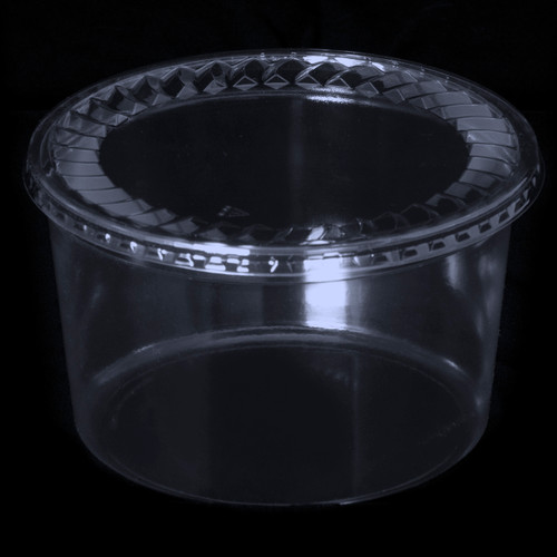 """7"""" Tall Round Clear Plastic Tubs"""