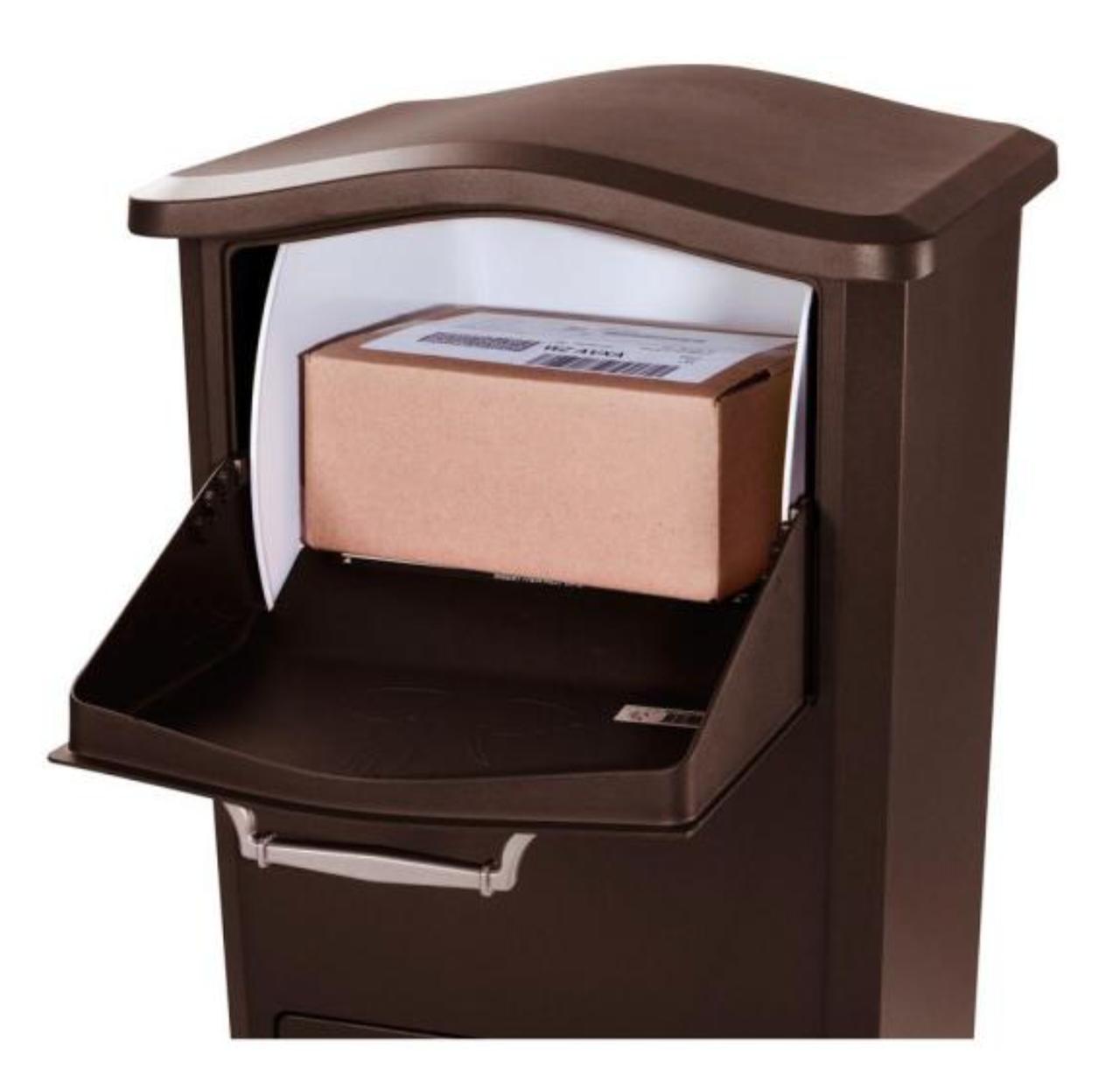 Top drop door open with package inside