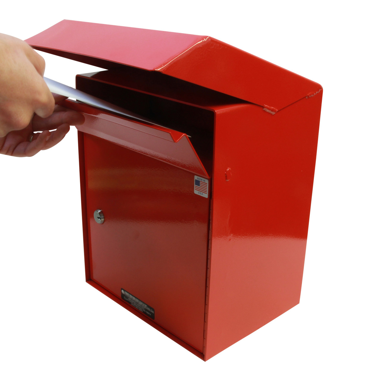 Envelope being dropped Outdoor Secure Payment Locking Drop Box
