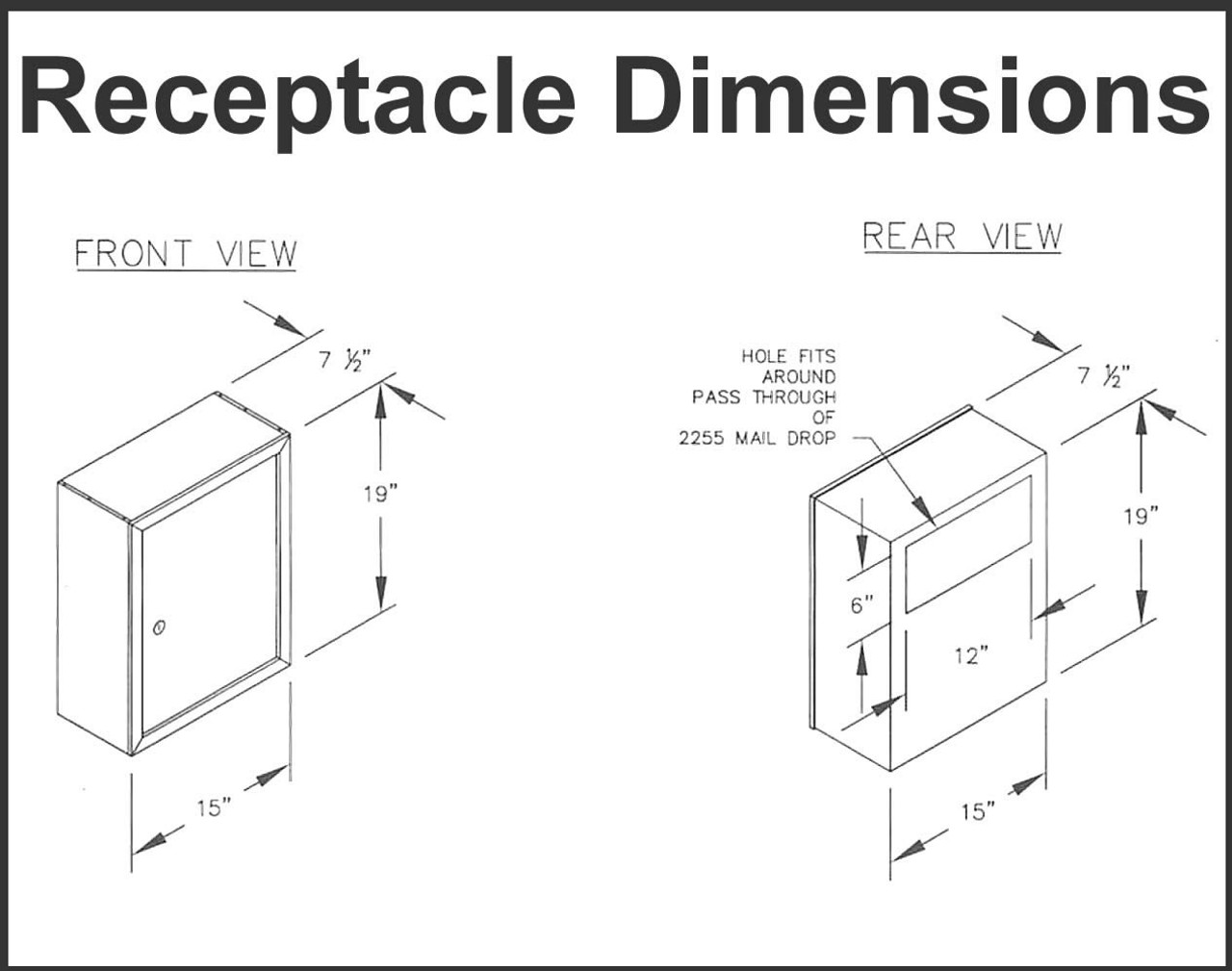 Mail Slot Optional Receptacle dimensions