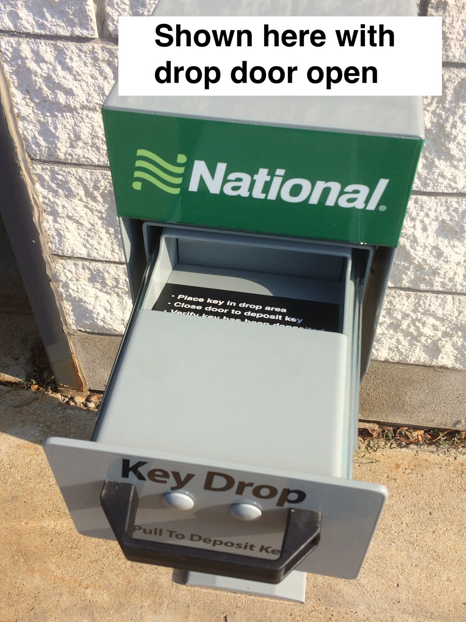 Secure Key Drop Box with Post hopper drop opened