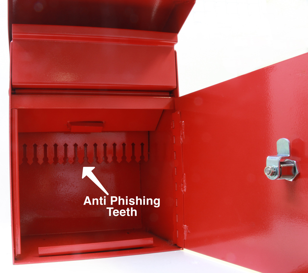 Large Outdoor Secure Payment Locking Drop Box showing anti phishing teeth