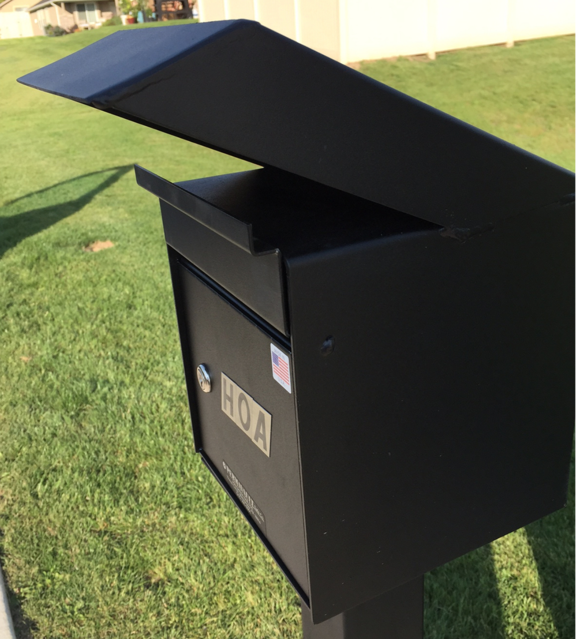 Large Outdoor Secure Payment Locking Drop Box shown mounted on a post