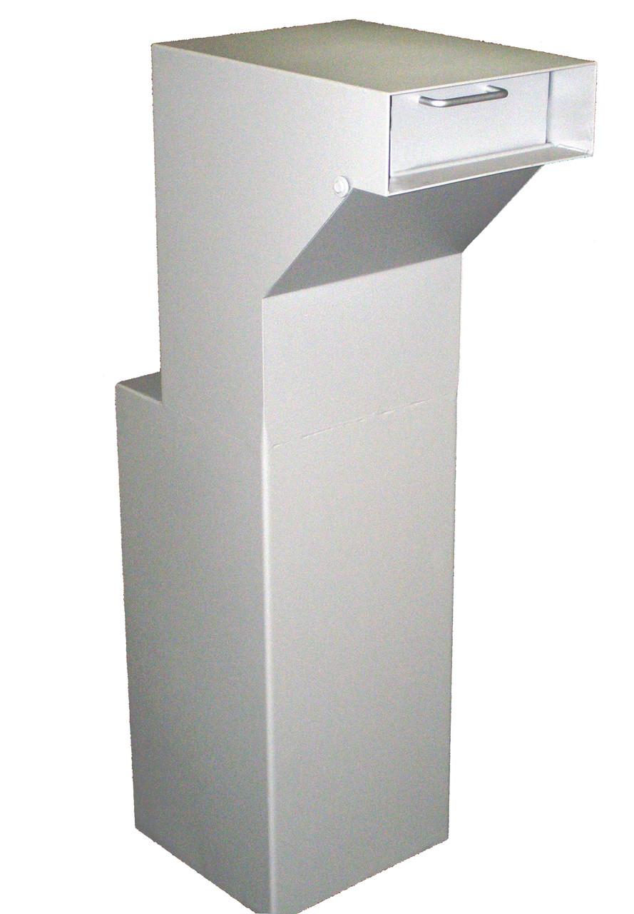 Floor Mounted High Security Through the Wall Custom Deposit Drop Box with Hopper Drop Door