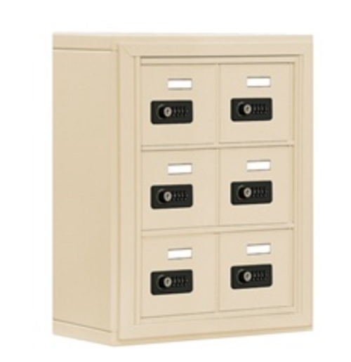6 Compartment Locker with Resettable Combination Lock