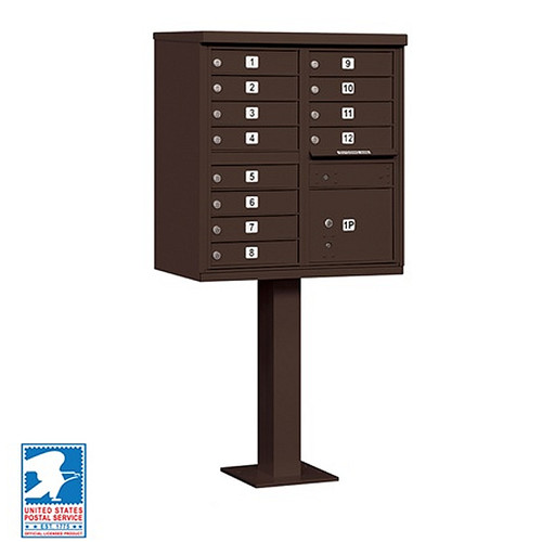Cluster Mailbox 12 Unit USPS Approved CBU - with Pedestal
