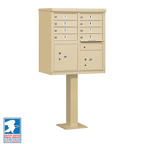 Cluster Mailbox 8 Unit USPS Approved CBU - with Pedestal