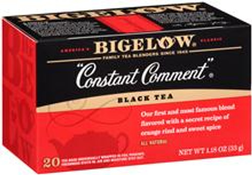 """Created by Ruth Bigelow in her kitchen over 60 years ago """"Constant Comment""""® is today America's most popular specialty tea. This original blend of the finest mountain-grown tea is deliciously flavored with rind of oranges and sweet spice. There's no other tea in the world quite like it."""