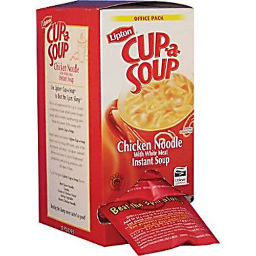 The Lipton Cup-a-Soup Chicken Noodle is a delicious and filling soup that is sure to satisfy your taste buds. This Lipton chicken noodle soup package contains 22 single-serving soup packets that turn into delicious swirly noodles when you add hot water. Cup-a-Soup noodle soup contains only 50 calories per serving and 0 grams of trans fat, which makes it a healthy and nutritious choice that satisfies your hunger. Relax and enjoy a rejuvenating of chicken and vegetable flavors with this Lipton chicken noodle soup.