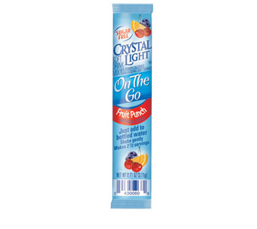 Crystal Light Fruit Punch soft drink mix gives people an easy way to create a delicious and healthy drink: simply add water. This sugar-free drink mix is better for your health than many soft drinks. This fruit punch drink mix is also a sugar-free drink mix so it is perfect for people who are watching their sugar intake or trying to cut it down. It is also a great fruit punch drink mix for mothers who want to give their kids a drink that they will enjoy drinking without giving them too much sugar. Crystal Light Fruit Punch soft drink mix is low in calories, with 90 percent fewer calories than many other soft drinks.  30 Pouches