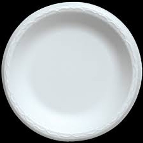Sturdy foam dinnerware can hold a full portion of food without breaking or bending     Features a smooth non-absorbent surface     Ideal for hot or cold entrees     Color: White     Diameter: 9in
