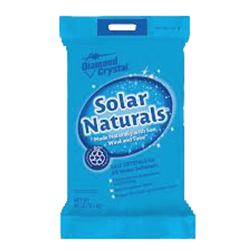 Our high purity solar salt contains up to 99.6% pure salt. Made naturally with sun, wind and time™, these solar crystals have a white, opaque appearance and a low insoluble content. They are also formulated to resist mushing and bridging, minimizing the accumulation of brine tank residue. Recommended for use in all side-by-side water softeners.