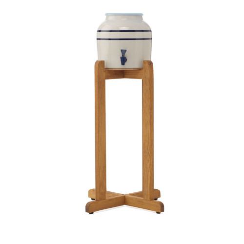 American made, antique style cermanic water crock dispenser with wooden stand included.