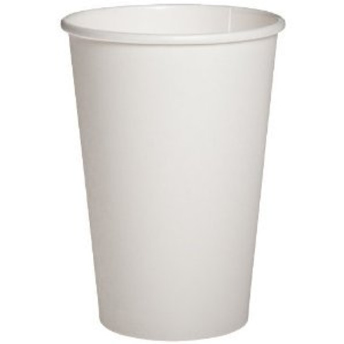Disposable paper cup for use with hot beverages such as coffee, tea, and hot chocolate, among others Polylined to help resist heat and prevent leaks
