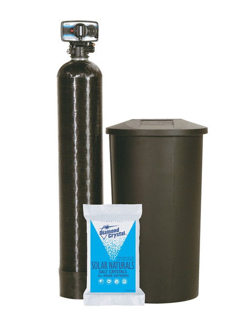 "NSF Certified valve with reliable piston, seal, and spacer technology.  WQA Gold Seal approved cation resin.   Cabinet or Twin Tank models. Use less power than an alarm clock (approx. $1.19 annually). 9x48"" tank - 30,000 grain - 1.0 cubic feet"