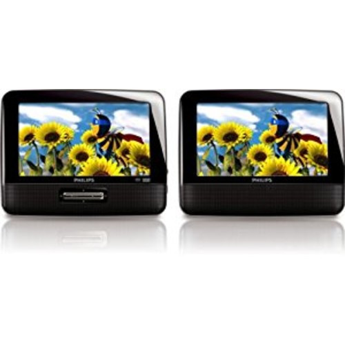 Philips PD7012/37 7-Inch LCD Dual Screen Portable DVD Player, Black