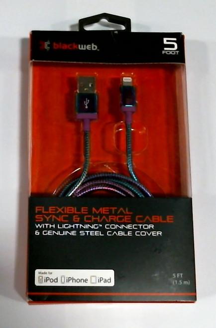 Blackweb Flexible 5ft Chameleon Metal Sync Lightning for Apple iPhone Cable 5'