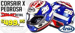 Save $480 on the Arai Corsair X Pedrosa Helmet