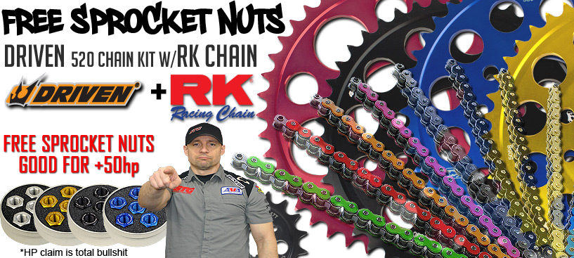 FREE Sprocket Nuts w/ Driven 520 Chain Kits
