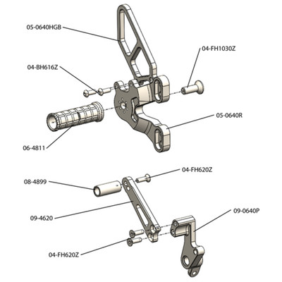 Woodcraft Ducati 848/1098/1198 Rearsets Complete Kit