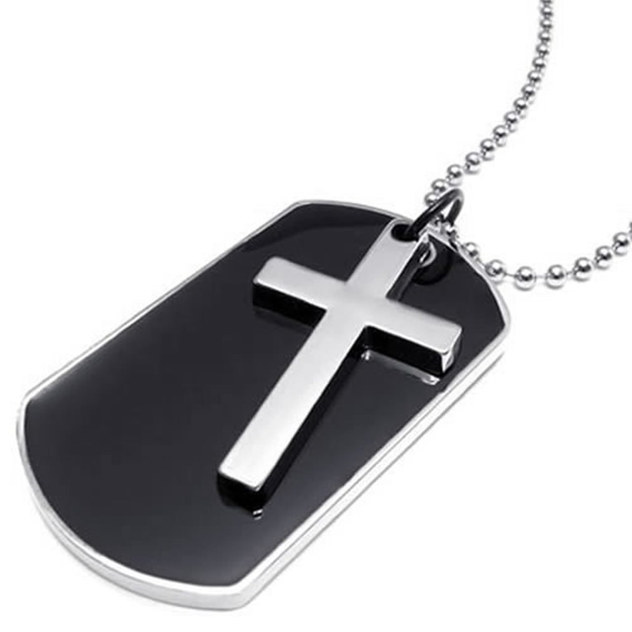 Army style black dog tag silver cross pendant mens necklace aloadofball Images