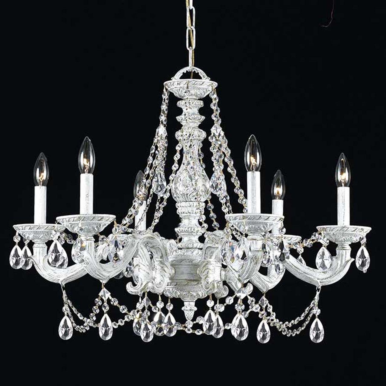 White crystal six light chandelier magnolia hall white crystal six light chandelier aloadofball Choice Image