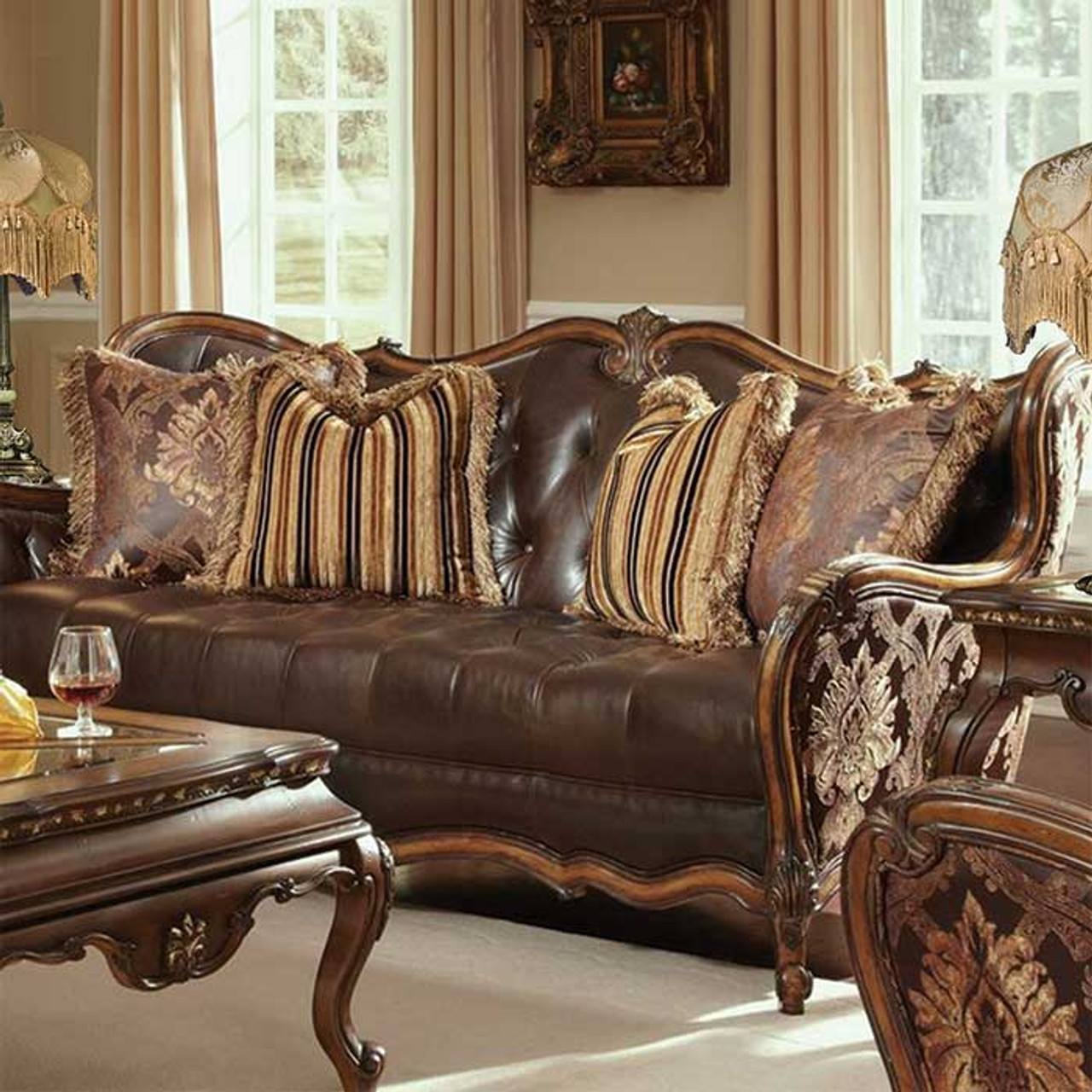 Caravelle Warm Walnut Leather Sofa