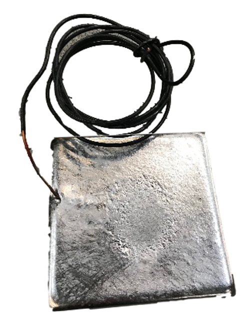"Zinc Tank Anode - 1.25"" x5"" x 5"" w/ 6 foot Copper Wire"