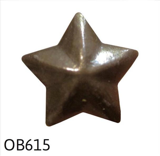 "OB615 - Old Brass 5 Point Star Nail/Clavos Head - Head Size: 1/2"" Nail Length: 1/2"" -25 per box"