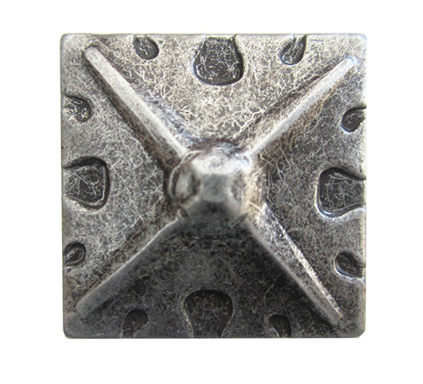 """BD82 - Square Shaped, Carved Pewter Nail/Clavos Head with Star Shaped Detail - Head Size: 1.2"""" Nail Length: 3/4"""" - 40/box"""