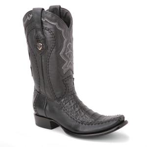 Wild West Black Genuine Caiman Skin Boots